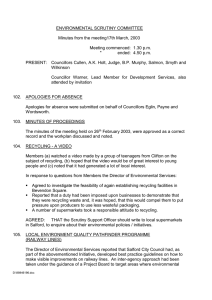 ENVIRONMENTAL SCRUTINY COMMITTEE  Minutes from the meeting17th March, 2003