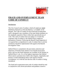 FRAUD AND OVERPAYMENT TEAM CODE OF CONDUCT