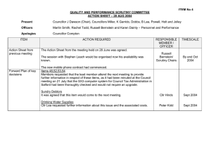 ITEM No 4 QUALITY AND PERFORMANCE SCRUTINY COMMITTEE – 28 AUG 2004
