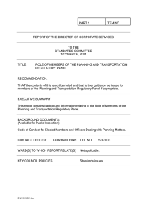 PART 1 ITEM NO. REPORT OF THE DIRECTOR OF CORPORATE SERVICES
