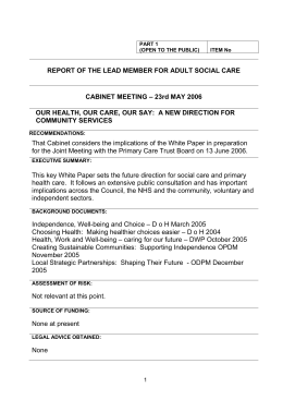 REPORT OF THE LEAD MEMBER FOR ADULT SOCIAL CARE CABINET MEETING