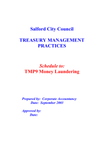 Salford City Council TREASURY MANAGEMENT PRACTICES