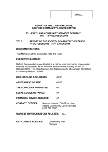 ITEM NO. REPORT OF THE CHIEF EXECUTIVE, SALFORD COMMUNITY LEISURE LIMITED