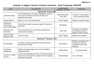 Customer & Support Services Scrutiny Committee- Work Programme 2004/05 ITEM No.10