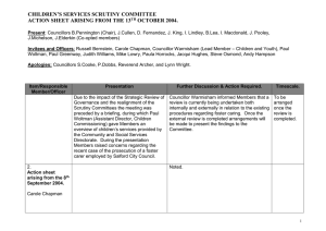CHILDREN'S SERVICES SCRUTINY COMMITTEE ACTION SHEET ARISING FROM THE 13 OCTOBER 2004.