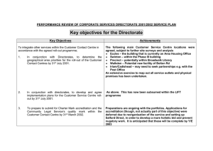 Key objectives for the Directorate
