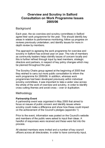 Overview and Scrutiny in Salford Consultation on Work Programme Issues 2005/06