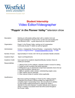 "Video Editor/Videographer  Student Internship ""Poppin' in the Pioneer Valley"""