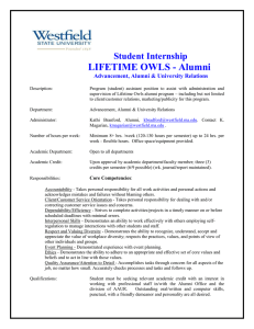 LIFETIME OWLS - Alumni Student Internship  Advancement, Alumni & University Relations