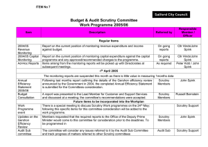 Budget & Audit Scrutiny Committee Work Programme 2005/06