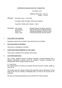 CORPORATE ISSUES SCRUTINY COMMITTEE  24 October, 2011 Meeting commenced:  2.00 p.m.