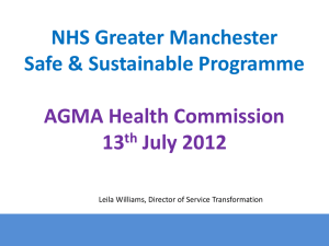 NHS Greater Manchester Safe & Sustainable Programme AGMA Health Commission 13