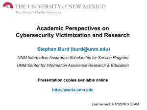 Academic Perspectives on Cybersecurity Victimization and Research Stephen Burd ()
