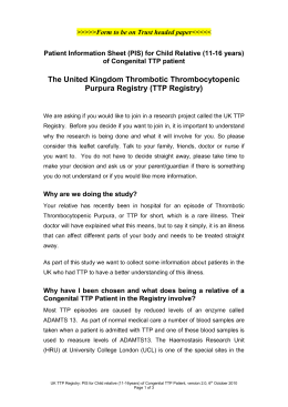 The United Kingdom Thrombotic Thrombocytopenic Purpura Registry (TTP Registry)