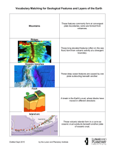 Vocabulary Matching for Geological Features and Layers of the Earth Mountains Ridges