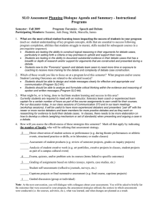 SLO Assessment Planning Dialogue Agenda and Summary - Instructional Programs