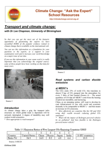 "Climate Change: ""Ask the Expert"" School Resources Transport and climate change:"