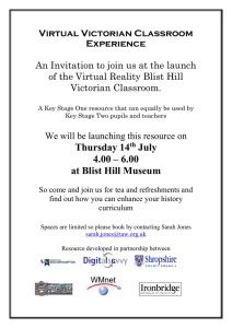 Virtual Victorian Classroom Experience  An Invitation to join us at the launch