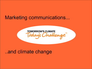 Marketing communications... ..and climate change
