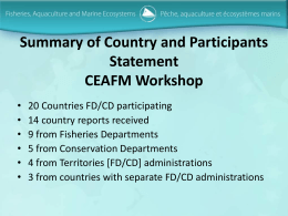 Summary of Country and Participants Statement CEAFM Workshop
