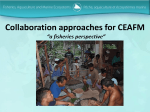"Collaboration approaches for CEAFM ""a fisheries perspective"""