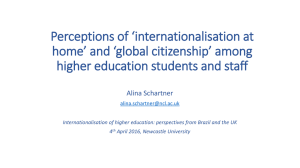 Perceptions of 'internationalisation at home' and 'global citizenship' among
