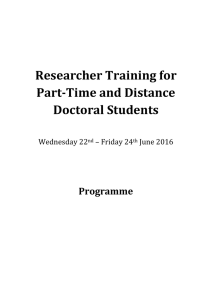 Researcher Training for Part-Time and Distance Doctoral Students