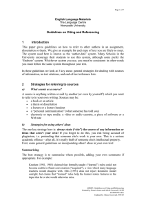Guidelines on Citing and Referencing 1 Introduction