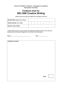 SEL1000 Creative Writing Feedback sheet for
