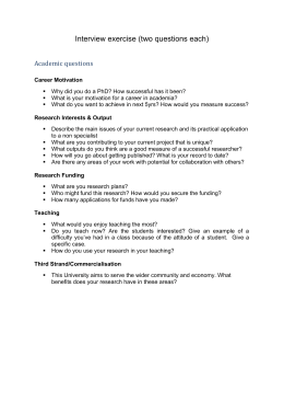 Interview exercise (two questions each) Academic questions