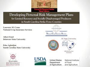 Developing Personal Risk Management Plans in South Carolina Strike Force Counties