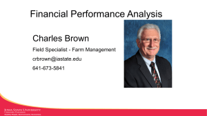 Financial Performance Analysis Charles Brown Field Specialist - Farm Management