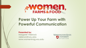 Power Up Your Farm with Powerful Communication Presented by: Margaret Viebrock