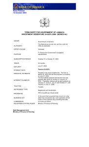 News Release 16 October 2003 TERM SHEET FOR GOVERNMENT OF JAMAICA