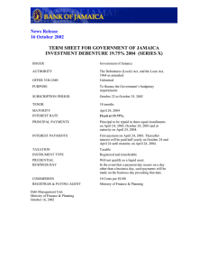 TERM SHEET FOR GOVERNMENT OF JAMAICA News Release
