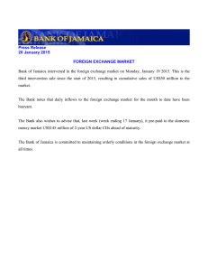Bank  of  Jamaica  intervened  in ... Press Release 20 January 2015
