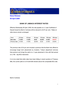 News Release 08 April 2009 BANK OF JAMAICA INTEREST RATES