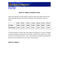 News Release 02 April 2004  BANK OF JAMAICA INTEREST RATES