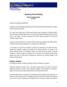 Quarterly Press Briefing  News Release 18 February 2004