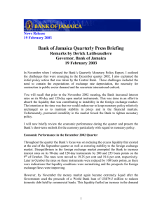 Bank of Jamaica Quarterly Press Briefing Remarks by Derick Latibeaudiere