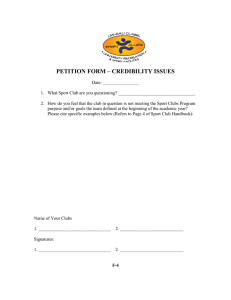 PETITION FORM – CREDIBILITY ISSUES
