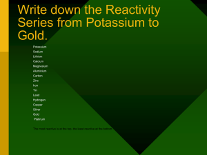Write down the Reactivity Series from Potassium to Gold. Potassium