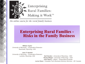 Enterprising Rural Families - Risks in the Family Business