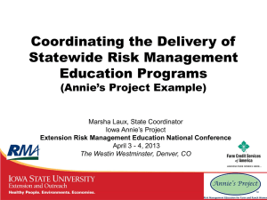 Coordinating the Delivery of Statewide Risk Management Education Programs (Annie's Project Example)
