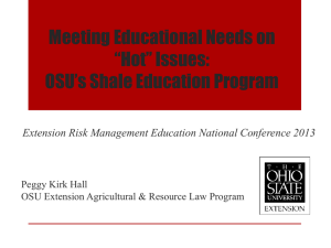 "Meeting Educational Needs on ""Hot"" Issues: OSU's Shale Education Program"