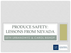 PRODUCE SAFETY: LESSONS FROM NEVADA
