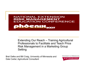 – Training Agricultural Extending Our Reach Professionals to Facilitate and Teach Price