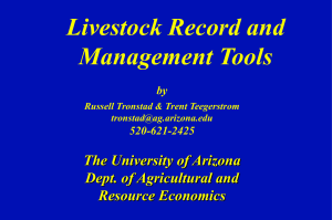 Livestock Record and Management Tools The University of Arizona Dept. of Agricultural and