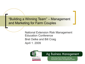"""Building a Winning Team"" – Management and Marketing for Farm Couples"