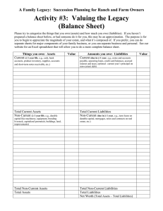 Activity #3:  Valuing the Legacy (Balance Sheet)